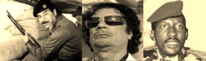 De gauche à droite : Saddam Hussein, le colonel Kadhafi et le camarade président Tomas sankara ...